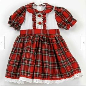 FairyTale Red Plaid Dress 2T Roses Lace Red Riding